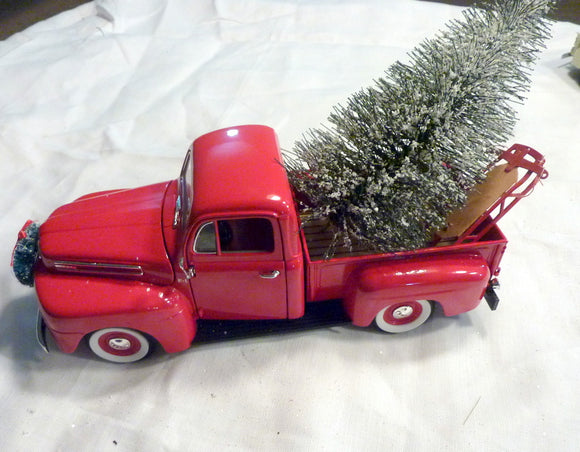 Red Metal Truck decor, 10 inch Diecast truck , Christmas Truck decorations, Metal truck with tree - Julie Butler Creations