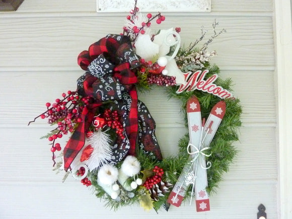 Red and Black Buffalo plaid Christmas Wreath, Farmhouse Christmas Decorations - Julie Butler Creations