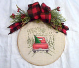 Christmas hoop wreath, farmhouse decor, Red Truck Christmas sign, Farmhouse wreath - Julie Butler Creations