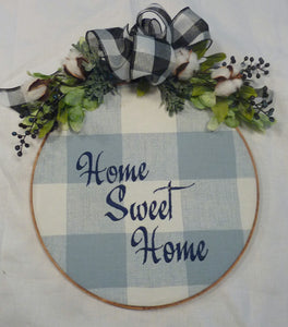 Blue Farmhouse hoop wreath, farmhouse decor, wood hoop Home Sweet Home sign - Julie Butler Creations