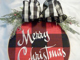 Farmhouse Christmas wreath, farmhouse decor, wood hoop Christmas sign, Buffalo Plaid wreath - Julie Butler Creations