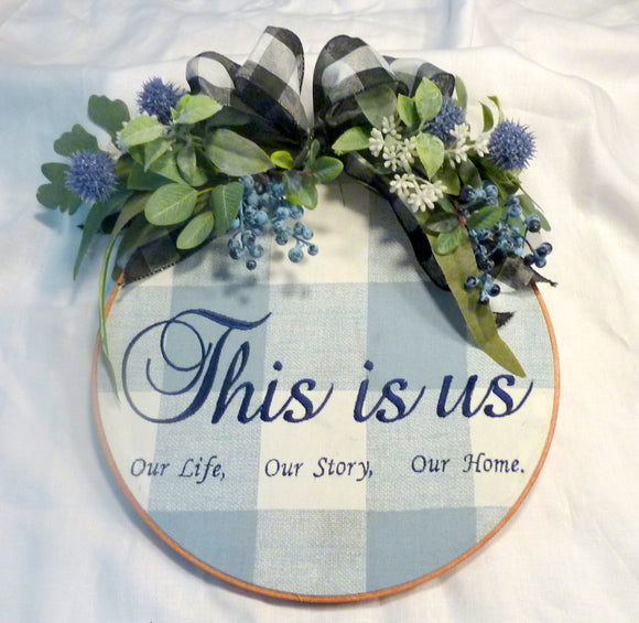 Blue Farmhouse hoop wreath, farmhouse decor, Farmhouse wreath, wedding gift - Julie Butler Creations