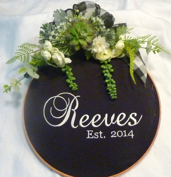 Personalized hoop wreath, farmhouse decor, wood hoop Name sign, Farmhouse wreath, wedding gift - Julie Butler Creations