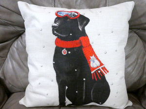 Winter Pillow covers- Christmas decorations - dog pillow covers - Black Lab pillow