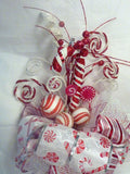 Candy Cane Tree topper, Red and White Ribbon Tree topper, Bow Tree Topper