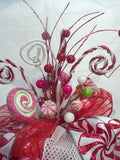 Red and White Ribbon Tree topper, Candy tree topper, Bow Tree Topper - Julie Butler Creations