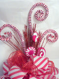 Red and White Ribbon Tree topper, Bow Tree Topper, Christmas tree topper, Peppermint topper