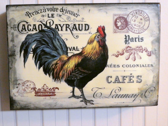Farmhouse plaques - rooster art - Vintage Paris advertising - wood shelf setter - Julie Butler Creations