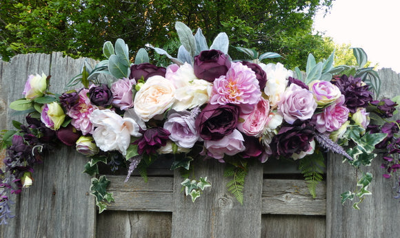 Wedding Arch -Plum, Pink, Lavender and white Arch - Wedding Flowers - Wedding Arbor Decorations