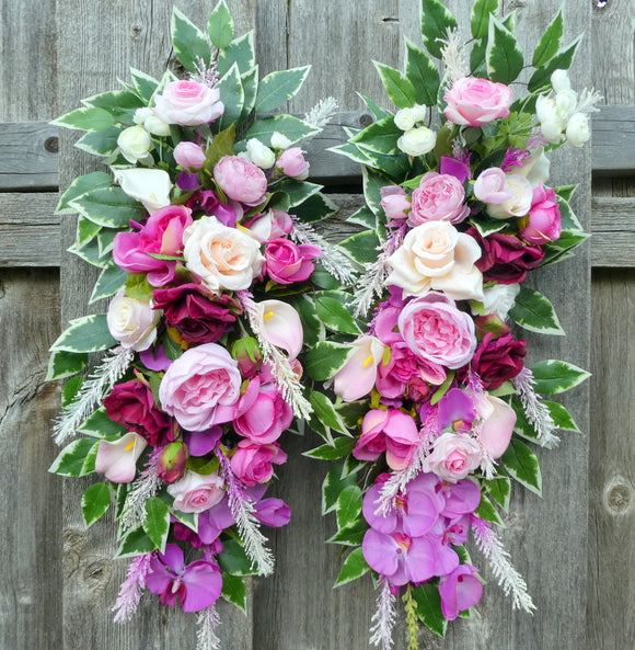 Wedding Arch Flowers, Wedding Flower swags for Arbor, Floral tiebacks for Arbor, Wedding decorations