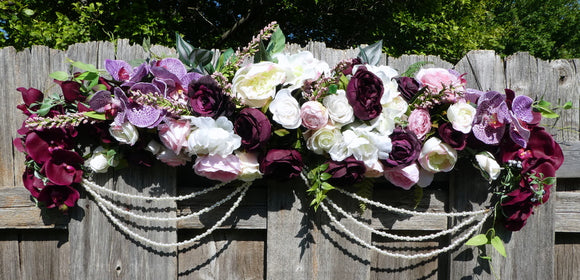 Plum Wedding Arch -Plum, Pink, Lavender and white Arch - Wedding Flowers - Wedding Arbor Decorations - Julie Butler Creations