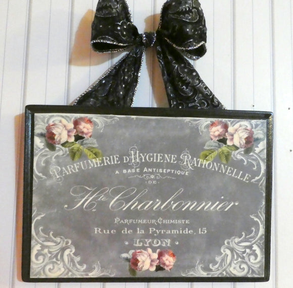 Paris Chalkboard Wood Plaque - Vintage Paris advertising - wood wall art - French Country decof - Julie Butler Creations