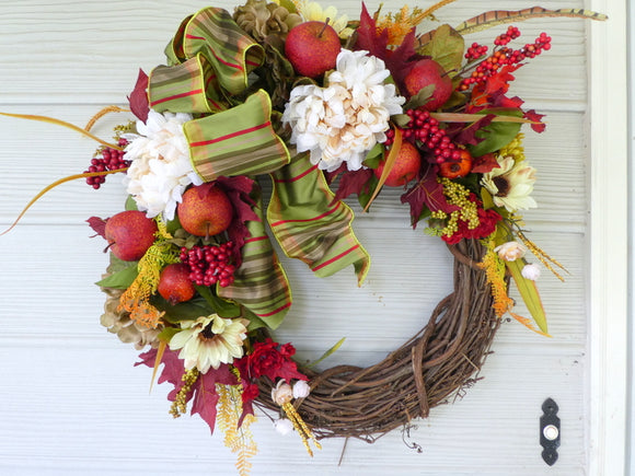 Fall wreath - Front door wreath - Autumn Wreath - decorative wreaths - Fall wreath - Julie Butler Creations