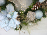 Blue Poinsettia Christmas Wreath - Christmas Wreath - Christmas Decorations - Holiday decorations - Julie Butler Creations
