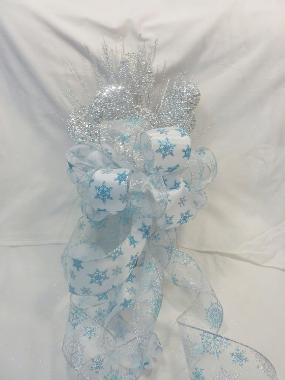 Christmas Tree Topper in Silver and Blue, Snowflake Ribbon topper, Tree decorations - Julie Butler Creations