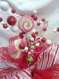 Candy Topper, Red and White Ribbon Tree topper, Bow Tree Topper - Julie Butler Creations
