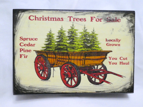 Christmas Tree Wagon shelf sitter - wood plaques - Christmas decorations - French country - Julie Butler Creations