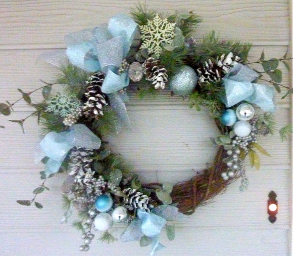 Blue and Silver Christmas Wreath - Christmas Wreath - Christmas Decorations - Holiday decorations