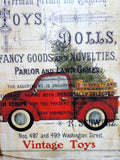 Red Truck Christmas shelf sitter - wood plaques - Christmas decorations - Vintage Toy advertising