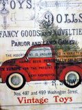 Red Truck Christmas shelf sitter - wood plaques - Christmas decorations - Vintage Toy advertising - Julie Butler Creations