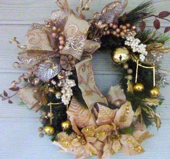 Gold Christmas Wreaths - Christmas Decorations - Rose Gold Wreaths - Holiday Door Decor - Poinsettia wreath