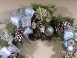 Blue and Silver Christmas Wreath - Christmas Wreath - Christmas Decorations - Holiday decorations - Julie Butler Creations