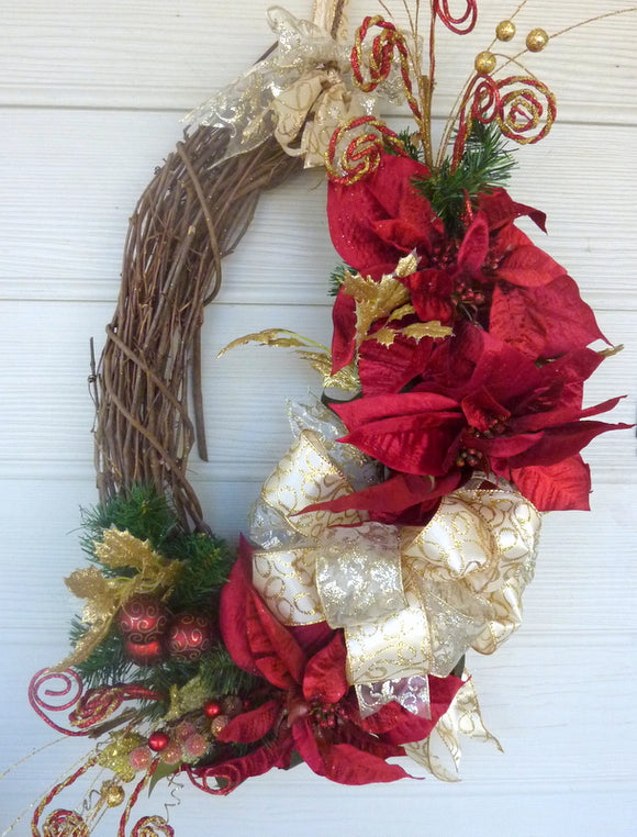 Oval Christmas Wreath - Christmas Decorations - Burgundy and Gold Wreaths - Holiday Door Decor - Poinsettia wreath