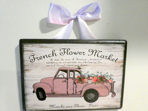 French Flower Market Plaque - Vintage Paris advertising -French Country decor - Julie Butler Creations