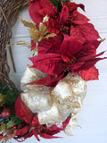 Oval Christmas Wreath - Christmas Decorations - Burgundy and Gold Wreaths - Julie Butler Creations