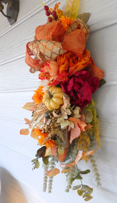 Fall door swag - Thanksgiving Door Swags - Fall door swags - Autumn Wreaths - Julie Butler Creations