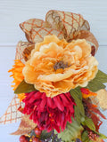 Fall Peonies door swag - Thanksgiving Door Swags - Fall door swags - Autumn Wreaths - Teardrop swag - Julie Butler Creations