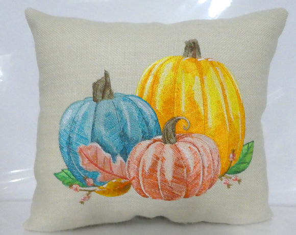 Embroidered Fall Pumpkin Pillow - Autumn pillows - Embroidered pumpkin pillow - Julie Butler Creations