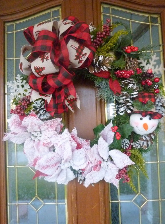 Country Christmas Wreath - Buffalo plaid wreath - Christmas Wreaths - Holiday Door Decor - Christmas decorations