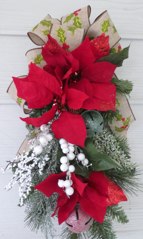Red Poinsettia Door Swag - Christmas Wreath - Christmas door swag - Holiday Door Decorations - Julie Butler Creations