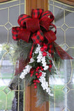 Red and Black buffalo plaid Door Swag - Christmas Wreath - Christmas door swag - Julie Butler Creations