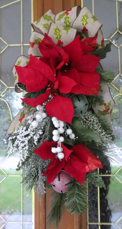 Red Poinsettia Door Swag - Christmas Wreath - Christmas door swag - Holiday Door Decorations
