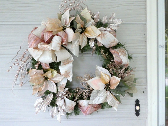 Rose Gold Christmas Wreaths - Christmas Decorations - Poinsettia wreath - Julie Butler Creations