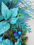 Christmas Wreath - Christmas Decorations - Peacock Wreaths - Holiday Door Decor - Poinsettia wreath - Julie Butler Creations
