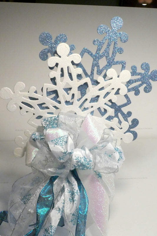 Snowflake Tree topper - Snowflake Ribbon topper - Tree decorations