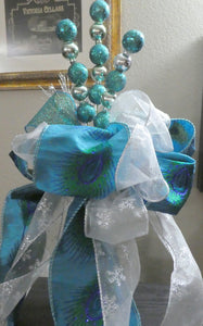 Peacock Tree topper - Ribbon topper - Tree decorations - Julie Butler Creations