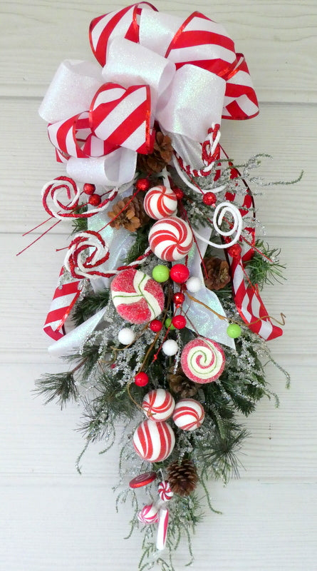 Christmas Candy Door Swag - Christmas Wreath - Christmas door swag - Holiday Door Decorations - Julie Butler Creations