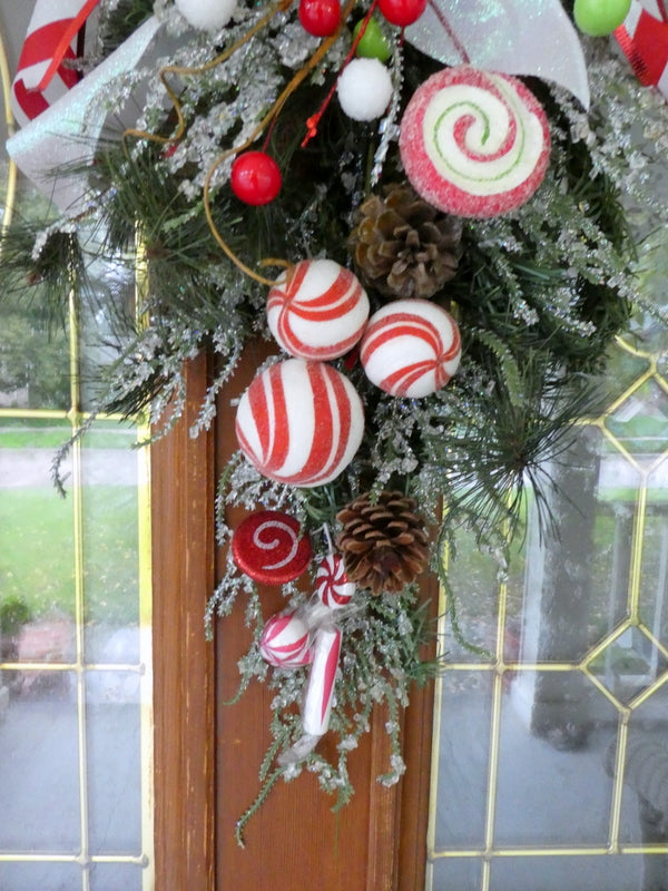 Christmas Candy Decorations.Christmas Candy Door Swag Christmas Wreath Christmas Door Swag Holiday Door Decorations