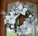 Silver and Blue Wreath - Christmas Wreath - Christmas Decorations - Holiday decorations - Julie Butler Creations