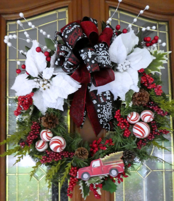 Red truck Christmas Wreath - Christmas Decorations - Holiday decorations - Chalkboard ribbon