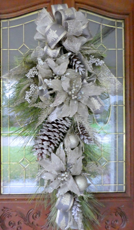 Poinsettia Door Swag - Christmas Wreath - Christmas door swag - Platinum swag - Julie Butler Creations