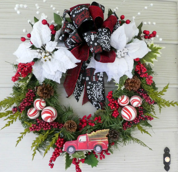 Red truck Christmas Wreath - Christmas Decorations - Holiday decorations - Chalkboard ribbon - Julie Butler Creations