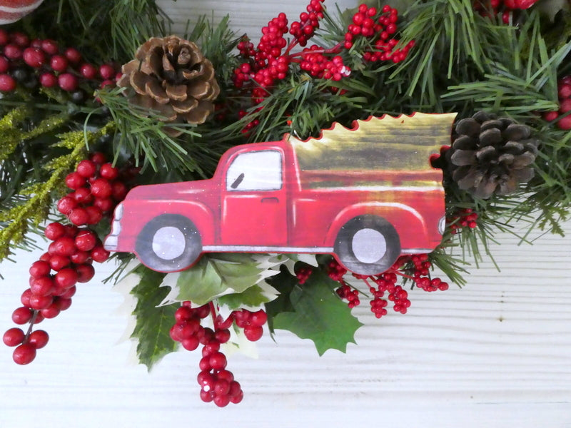 red truck christmas wreath christmas decorations holiday decorations chalkboard ribbon