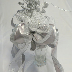 Silver Tree topper -Ribbon topper - Tree decorations - Bow Tree Topper - Christmas decorations - Julie Butler Creations