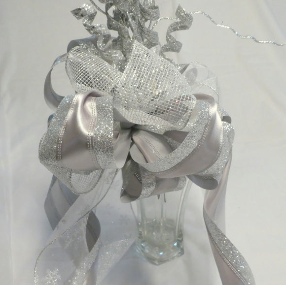 Silver Tree topper -Ribbon topper - Tree decorations - Bow Tree Topper - Christmas decorations