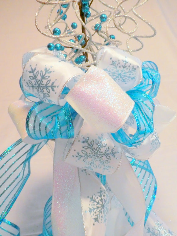 Ribbon Tree topper - Turquoise Blue, White and Silver topper - Tree decorations